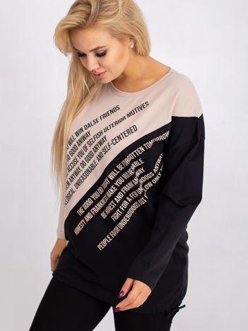 Beżowo-czarna bluzka plus size Secretly