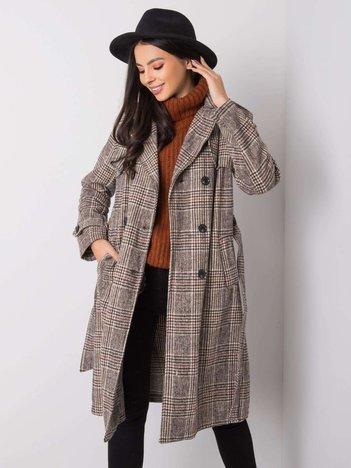 Beżowo-czarny płaszcz Artemide