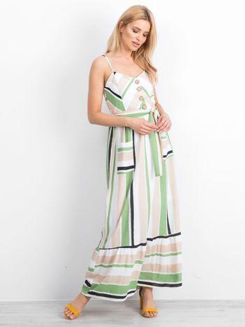 Beżowo-zielona sukienka Evaporate