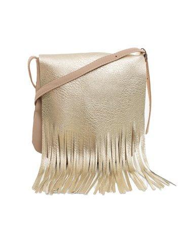 Beżowo-złota torebka z frędzlami