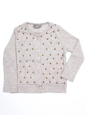 Beżowy bawełniany sweter dla dziewczynki z perełkami