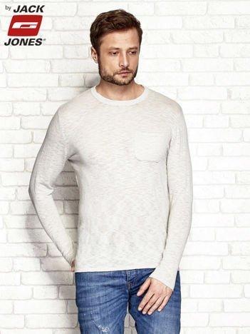 Beżowy melanżowy sweter męski z kieszonką