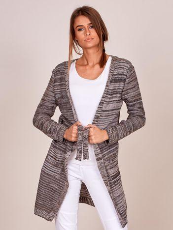 Beżowy melanżowy sweter z wiązaniem