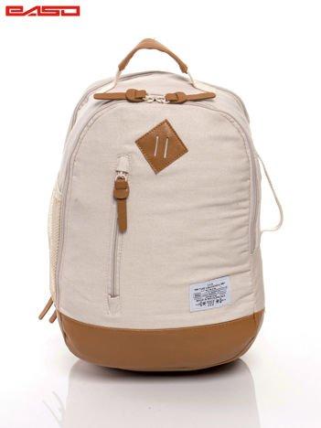 Beżowy plecak ze skórzaną wstawką
