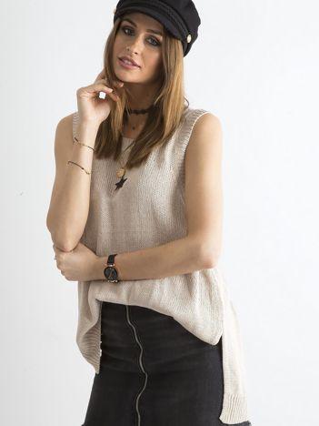 Beżowy sweter-kamizelka bez rękawów