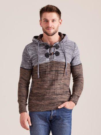 Beżowy sweter męski z kapturem