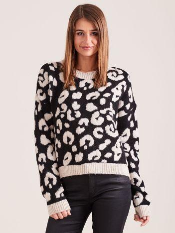 Beżowy sweter w cętki