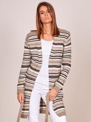 Beżowy sweter w paski z wiązaniem