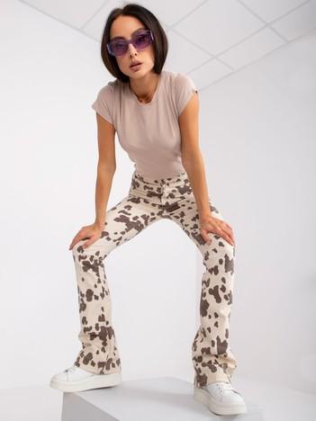 Beżowy t-shirt damski