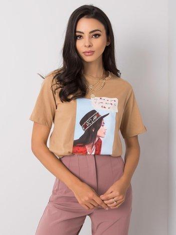 Beżowy t-shirt z aplikacją North