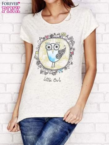 Beżowy t-shirt z nadrukiem sowy