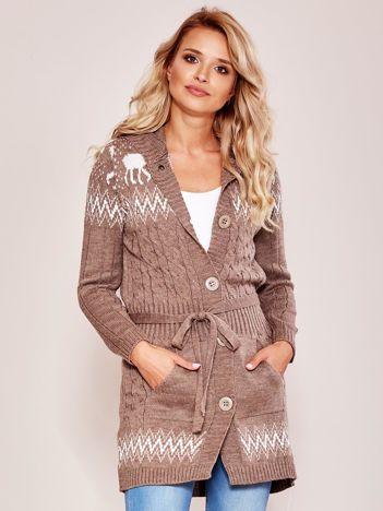 Beżowy wzorzysty sweter z kapturem
