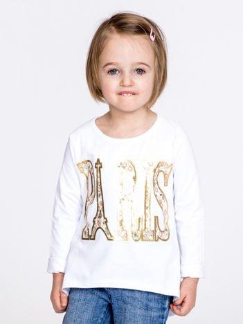 Biała bawełniana bluzka dziewczęca z napisem PARIS