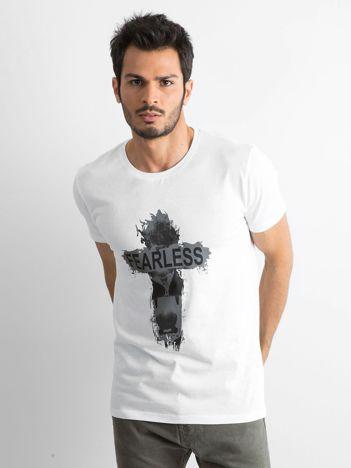 Biała bawełniana koszulka męska z nadrukiem