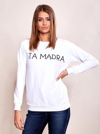 Biała bluza bez kaptura z napisem