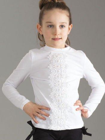 Biała bluzka dziewczęca z koronką i perełkami