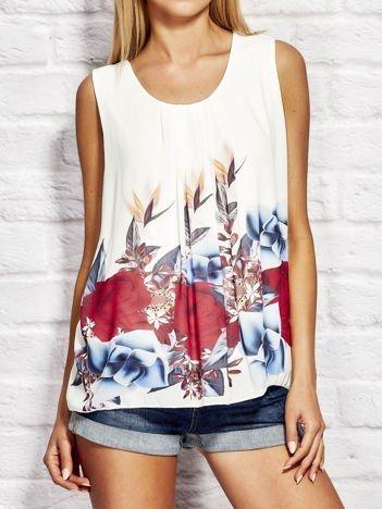 Biała bluzka koszulowa z motywem floral print