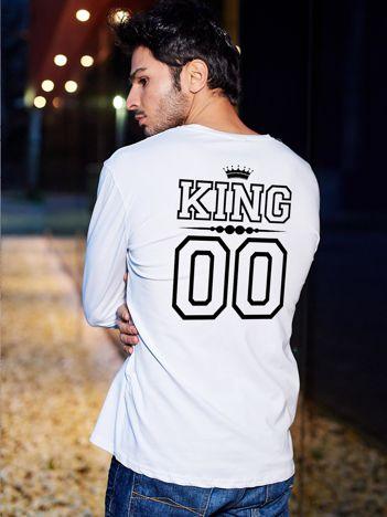 Biała bluzka męska dla par z nadrukiem KING na plecach