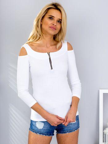 Biała bluzka off shoulder z suwakiem