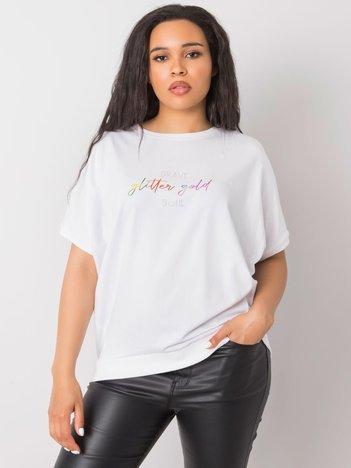 Biała bluzka plus size z napisem Jewel
