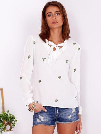 Biała bluzka w kaktusy z wiązaniem