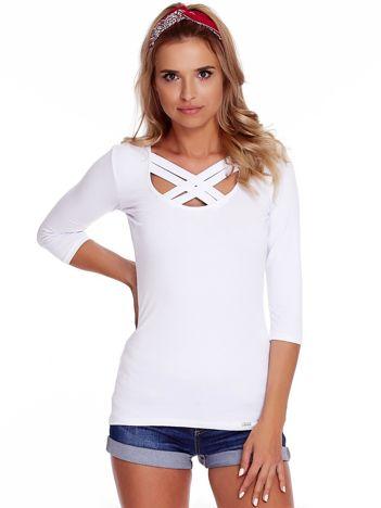 Biała bluzka z plecionymi paskami