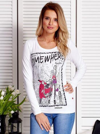 Biała bluzka z rysunkowym printem