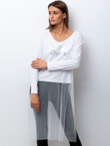Biała bluzka z siatkową warstwą