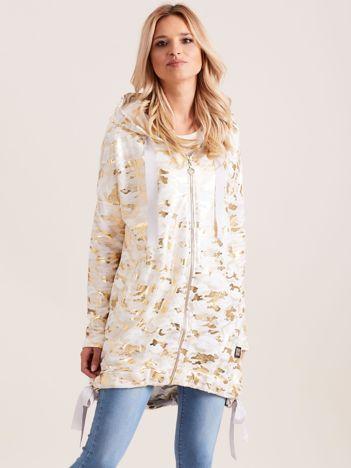 Biała błyszcząca dresowa bluza z kapturem