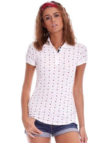 Biała damska koszulka polo w serduszka
