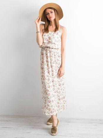Biała długa sukienka w kwiaty