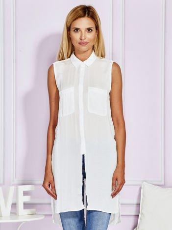 Biała dłuższa koszula z kieszeniami