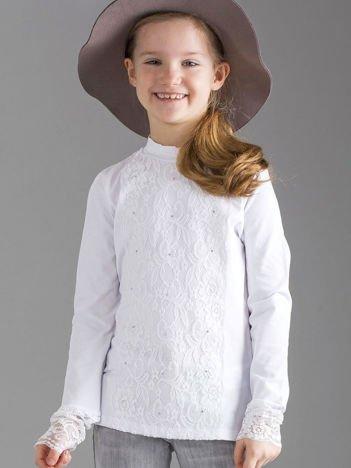 Biała elegancka bluzka dla dziewczynki z koronką