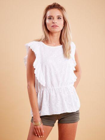 Biała haftowana bluzka z marszczeniem