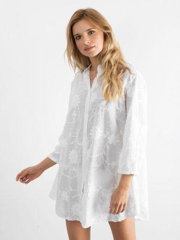 Biała haftowana sukienka damska