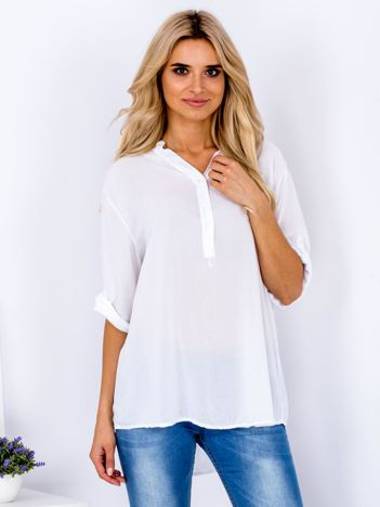 Biała koszula V-neck