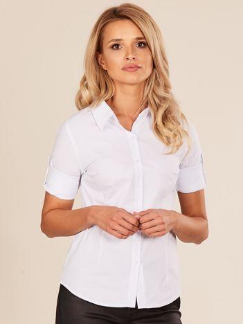 Biała koszula damska z podwijanymi rękawami