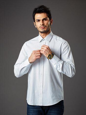 Biała koszula męska regular fit w drobne geometryczne wzory