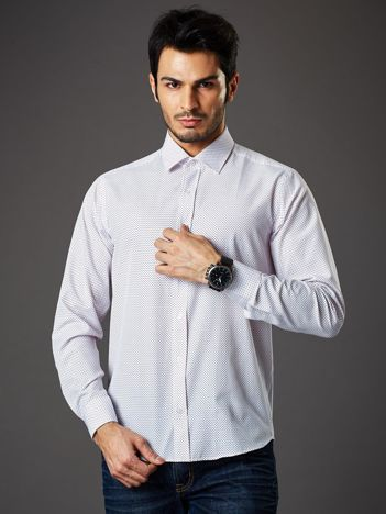 Biała koszula męska w granatowo-czerwone kropki regular fit