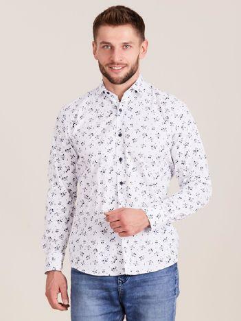 Biała koszula męska w roślinne wzory
