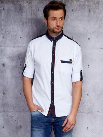 Biała koszula męska z kontrastowym wykończeniem