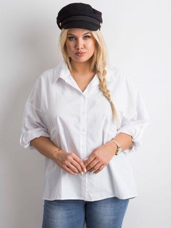 Biała koszula z haftem PLUS SIZE