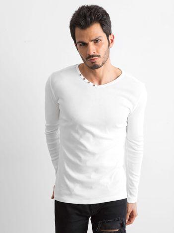 Biała koszulka męska z długim rękawem