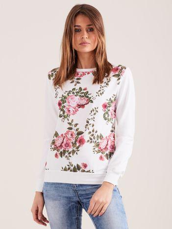 Biała kwiatowa bluza damska