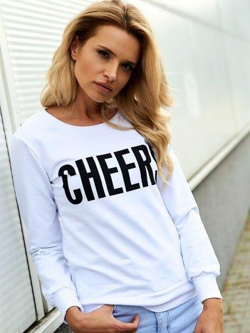 Biała lekka bluza z napisem CHEERS