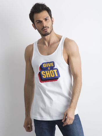 Biała męska koszulka bez rękawów z nadrukiem