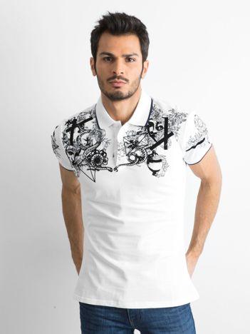 Biała męska koszulka polo we wzory