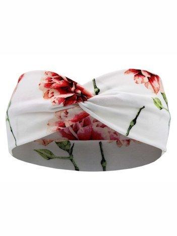 Biała opaska dla dziewczynki 6-9 lat w kwiaty