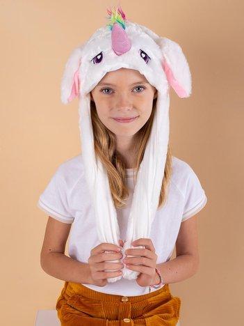 Biała pluszowa czapka