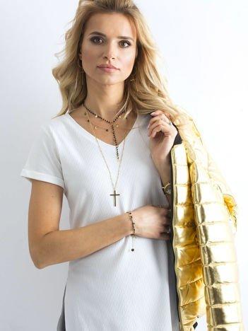 Biała prążkowana bluzka w serek